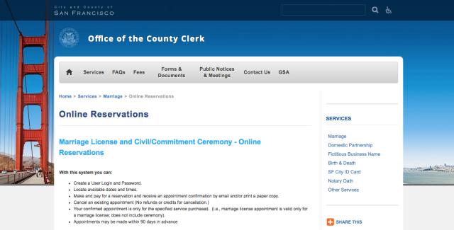 San Francisco City Hall Website 舊金山市政廳官方網站
